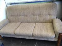 Vintage 3 seater sofa and arm chair
