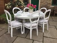 Shabby Chic Extending Dining Table & 6 Silver Grey Crushed Velvet Chairs