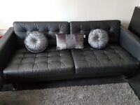 4 seater leather couch with matching chair and foot stool