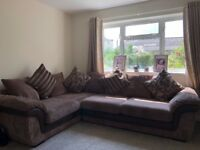 DFS brown cord corner sofa and reclining armchair with matching lamp in immaculate condition