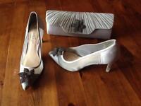 """Size 4 Silver/Grey Shu Shu 3"""" heels & matching clutch bag"""