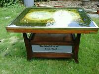One off map table,solid oak,brass custom designed ,hand signed world is oyster