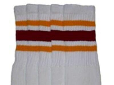 "25"" KNEE HIGH WHITE tube socks with GOLD/MAROON stripes style 3 (25-39) ](Tube Socks With Stripes)"