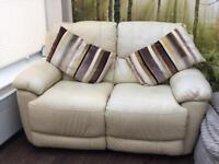 Cream leather 3 and 2 seater reclining sofas