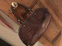 Hogan Brown leather bowling bag
