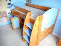 Stompa Mid-sleeper cabin bed. Loads of storage + pull out desk. for sale  Grimsby, Lincolnshire