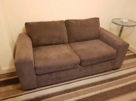 Two dark brown sofas: sofa with 2 seater & bed sofa with 3 seater. Included sofa covers & cushions.