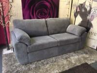 New Rebecca 3 Seater Soft Touch Fabric Sofa In Grey