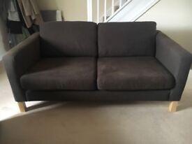 2 x Ikea 2 seater brown fabric sofas