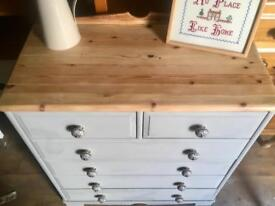 Solid pine upcycled chest of drawers,rustic grey & wood