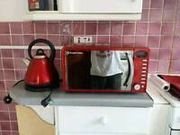 Red Russell Hobbs microwave + kettle