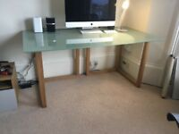 Glass desk with oak legs