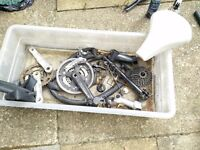 Offer - Box of bike stuff and vintage frame