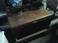 Cedar chest and smoke stand  all for 160.00 antique