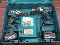 Makita Cordless and Impact drills with 2 batteries (3ah)