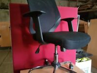 Black office chairs with armrests