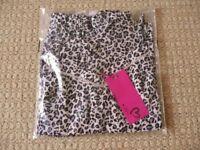 Womens Off White Grey Black Leopard Print Cami Camisole Vest Top & Shorts Pyjamas Nightwear Medium