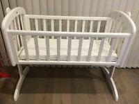 Nearly New John Lewis White Anna Swinging Crib & Mattress