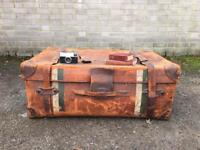 LEATHER EDWARDIAN TRUNK FREE DELIVERY LDN 🇬🇧chest