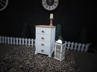 SOLID PINE FARMHOUSE BEDSIDE CABINET PAINTED WITH LAURA ASHLEY PALE DOVE AND WAXED FOR PROTECTION