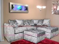 🌷💚🌷UP TO 20% OFF 🌷💚🌷CRUSHED VELVET FABRIC SOFA - DYLAN 3+2 / CORNER SUITE IN BLACK/ SILVER