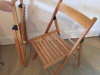 URGENT SALE: Fold-up slatted chairs x2 – light wood