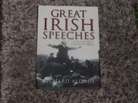 great irish speeches by richard aldous lovely hardback book with dust jacket excellent condition