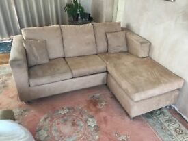 sofa bed double beige suede effect . good condition