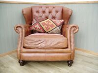 Stunning Tetrad Brown Chesterfield Leather and Material Chair
