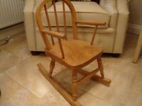 CHILDS SOLID PINE ROCKING CHAIR ONLY £20 FOR QUICK SALE ONLY £15