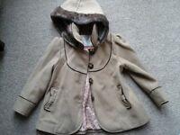 Girls Faux Fur Trimmed Coat 2-3 Yrs