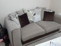 2 Seater Fabric Sofa- Light Grey/Brown
