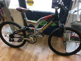"Mountain bike 24"" Wheels Rhino Full suspension Grip shift gears alloy frame"