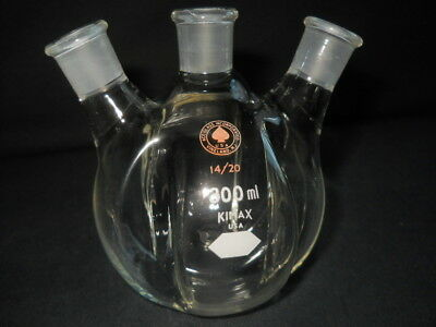 Kimax Ace Glass 1420 Joints 300ml 3-neck Round Bottom Indented Morton Flask