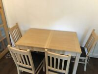Expandable Table and 4 Chairs