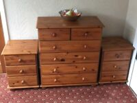 2 x Pine bedside cabinets