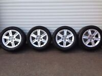 16'' GENUINE AUDI A3 ALLOY WHEELS AND TYRES 5X112 A4 GOLF CADDY LEON