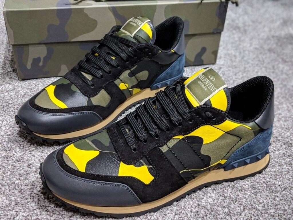 6c2c8f4b2a882 Valentino Garavani Rockrunner Sneakers UK 7, NEW, AUTHENTIC, BLACK/YELLOW