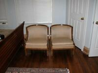 Barbara Barry style pair of petite antique occassional tub chair