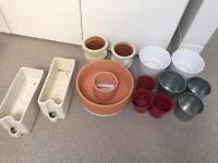 Assorted indoor pots