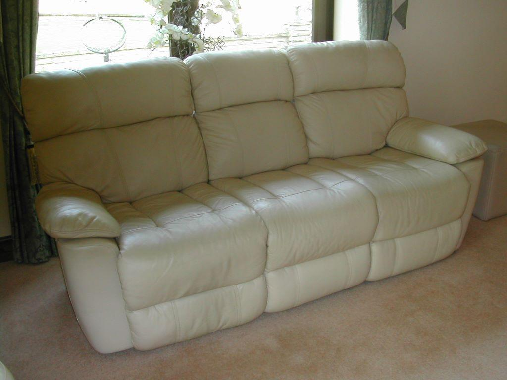 Cream Leather Reclining 3 Seater Sofa In Norwich
