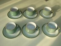 Denby Regency Green 6 cups and saucers