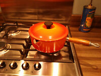 Vintage Volcanic Orange Le Creuset 20 cm Cast Iron saucepan with wooden handle