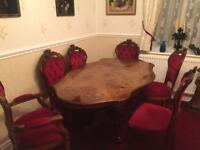 Beautiful inlaid Italian table with six chairs