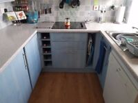 Howdens Blue Washed effect Kitchen Units and Appliances