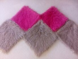 5 MONGOLIAN FAUX FUR CUSHION COVERS USED 3 STONE /TAUPE AND 2 HOT PINK
