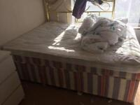 Double bed with base, desk