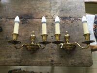2 brass period wall lights