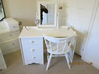 MODERN DRESSING TABLE , MIRROR AND CHAIR PAINTED LAURA ASHLEY COUNTRY WHITE