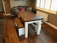 Handmade Rustic Wooden Table and Benches